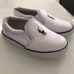 Ralph Lauren White Leather Slip on Sneaker.